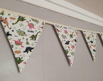 Dinosaur fabric bunting - nursery decor - new baby gift - playroom accessories - children's wall hanging