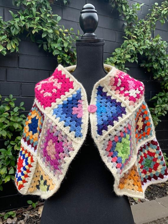 Vintage Square Crochet Cape ~ Wrap ~ Poncho ~ Boh… - image 3