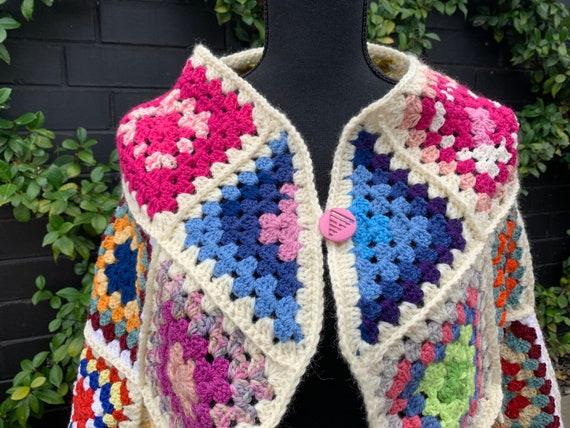Vintage Square Crochet Cape ~ Wrap ~ Poncho ~ Boh… - image 4