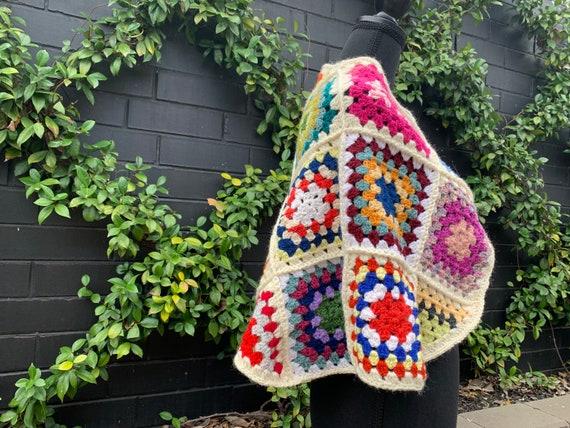 Vintage Square Crochet Cape ~ Wrap ~ Poncho ~ Boh… - image 6