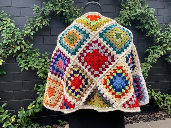 Vintage Square Crochet Cape ~ Wrap ~ Poncho ~ Boh… - image 2