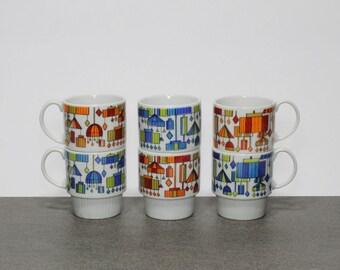 Charming Vintage 1960s Set of 6 Stacking Mugs Cups Coffee Tea Stackable Serigraph Screened Ceramic Pop Art Lamps Lights Lighting Japan