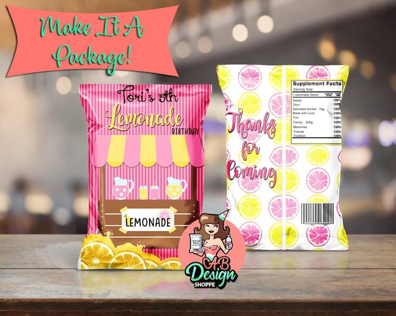 Printable Lemonade Party Chip Bag Digital DownloadParty Favor