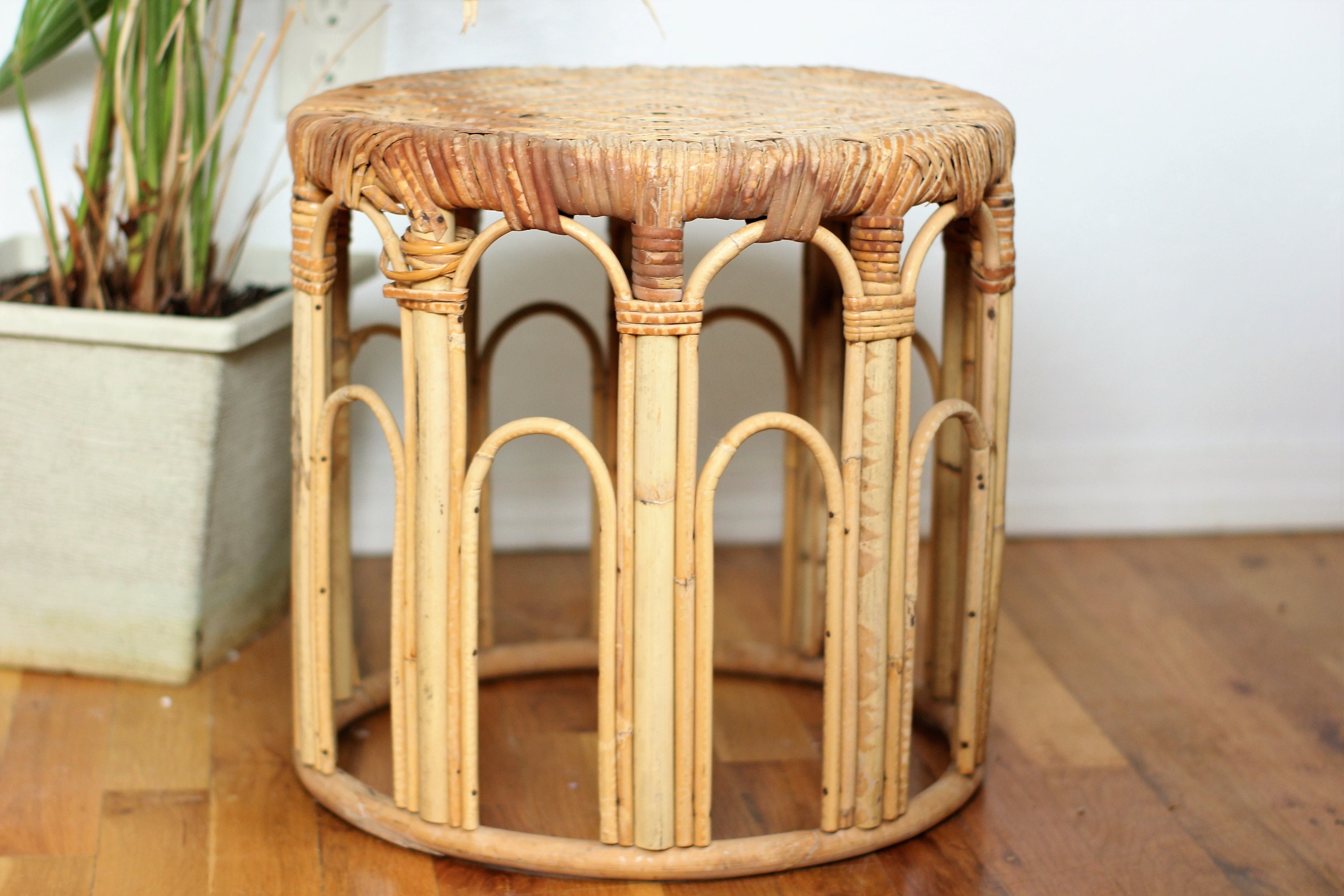 Vintage Rattan Plant Stand Side Table Planter Bohemian Etsy