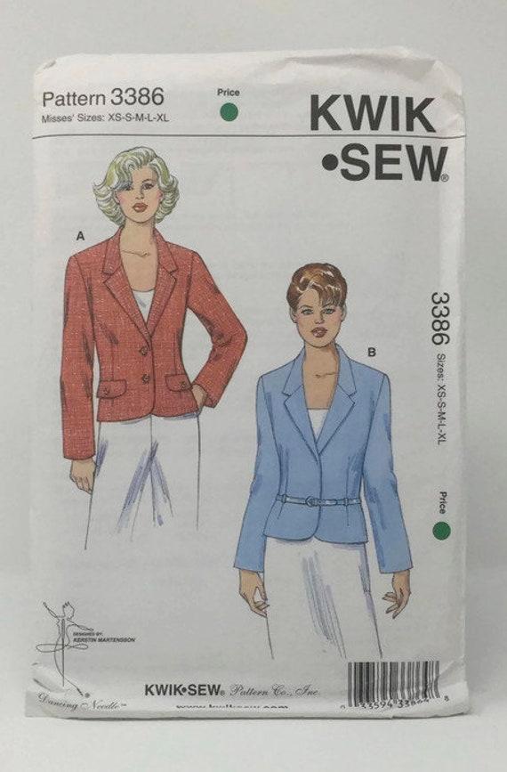 Fitted Jacket Pattern Kwik Sew 3386 Unlined Jacket Pattern Etsy