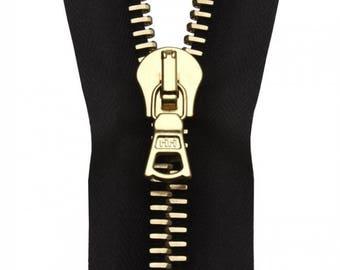 "RiRi Zipper 28"" / 71cm M6 Gold One-Way Opened-End Separating Black Twill Tape"