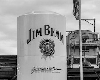 Jim Beam / Distillery Photo Print / Black and White / Photography / Gift for Bourbon Lovers / Bar Art / Home Decor / Distillery / Rickhouse