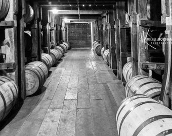 Bourbon Barrels Photo / Willett Bourbon Rickhouse / BW / Man Cave Decor / Bourbon Lover / BW Photo Print / Distillery Photo / Bar Decor