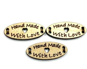 /'Love /& Hugs/' Wooden Buttons BT015296