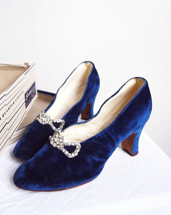 Sapphires 1930s Silk Velvet Shoes | Rhinestones |