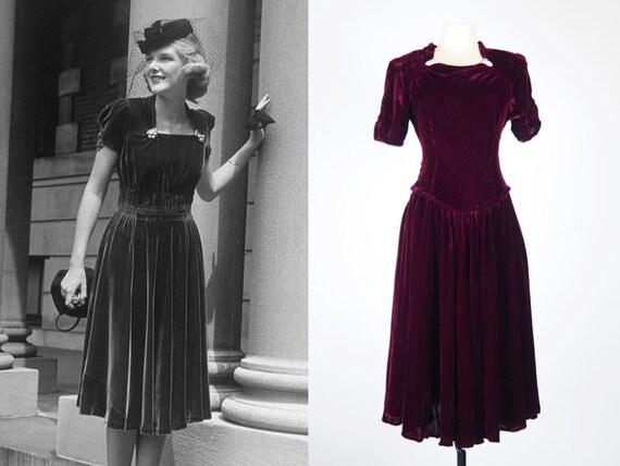 Burgundy Silk Velvet Dress | Old Hollywood Movie S