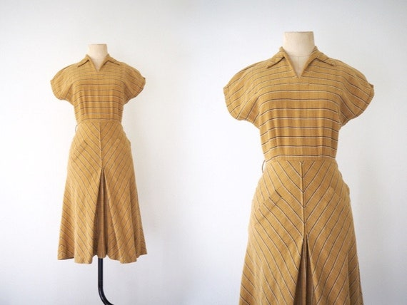 Striped Mustard 1940s Day Dress | Pointy Collar &