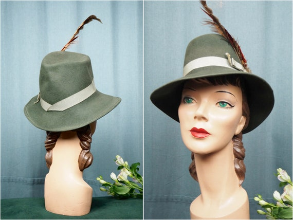Forest Green 1940s Fedora Wool & Feathers Hunting