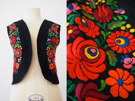Folklore Embroidery Black Wool Romantic Hungarian