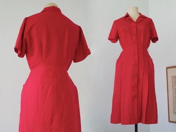 Pure Silk Raspberry Red Dress with Pockets | 1950s