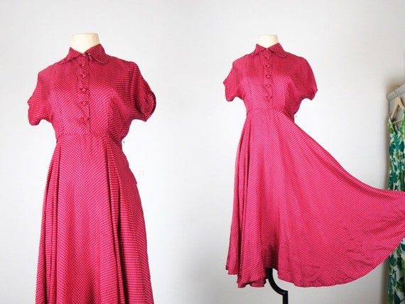 Roman Holiday 1950s Pure Silk Dress | Dotted Raspb