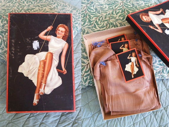 DEADSTOCK Fully Fashioned 1940s Box of Seamed Crep