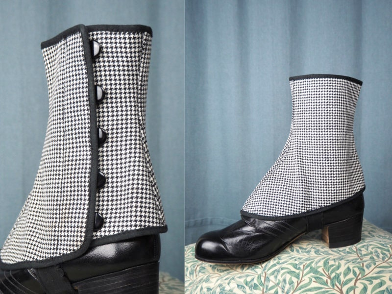 Spats, Gaiters, Puttees – Vintage Shoes Covers Rare Elegant 1940S Spats Plaid Black  White  Percival Made in Sweden Size 38 Shoe Rain  Winter Covers $98.99 AT vintagedancer.com