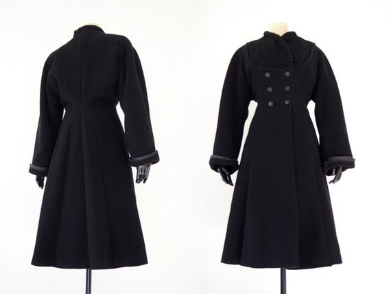 New Look 1940s Winter Black Wool Princess Coat