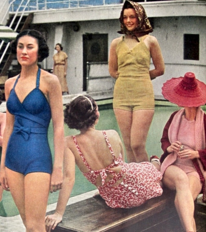 Vintage Summer Beach Wear Dive In Swimsuit 1940s Rose Pink Cotton