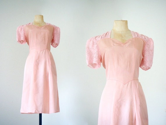 Romantic 1930s Day Dress | Puffed Lace Sleeves | 3