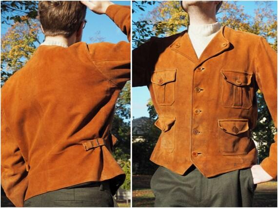 Rare Cognac Swedish 1940s Suede Jacket With Pocket