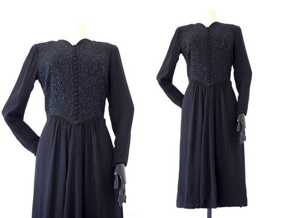 Midnight Silk Crepe Beaded 1940s Dress | Old Holly