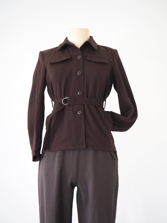 Brown Sport Vintage Jacket  Pockets, Belt & Shoul