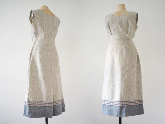 Wool 1940s Folklore Grey Pinafore Winter Day Dress