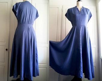 Heavenly Blue Vintage Silk Dress 1940s - 1950s Dusty Corn Blue Summer 40s 50s Swing Flare