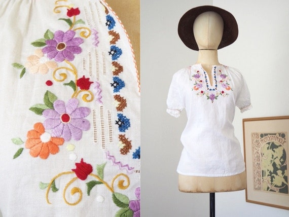 Pure Linen Hungarian Embroidered Floral White Blou