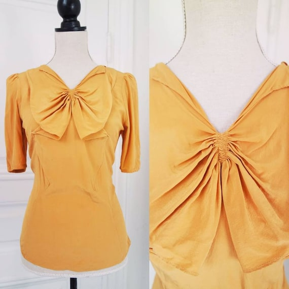 1930s style silk blouse with puff sleeves from Mos
