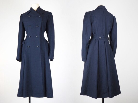 Rare Dark Blue Wool 1940s Utility Coat   Fit & Fla