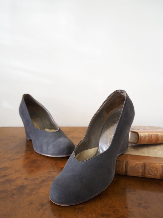 High 1940s Wedges Gray Suede Heels From Hedströms