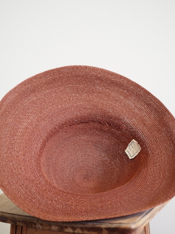 Deadstock 1940s Straw Summer Halo Hat | With Orig… - image 5