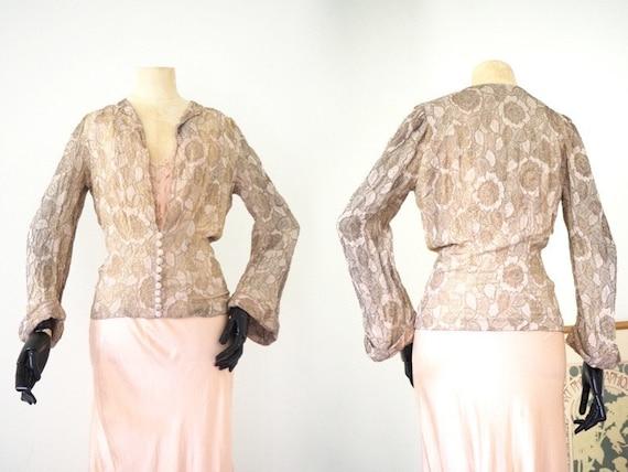 Gold Lamé 1930s Floral Blouse Jacket Dusty Pink Wi