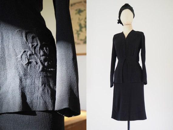 Trapunto 1940s Wool Crepe Skirt & Blouse | Black E