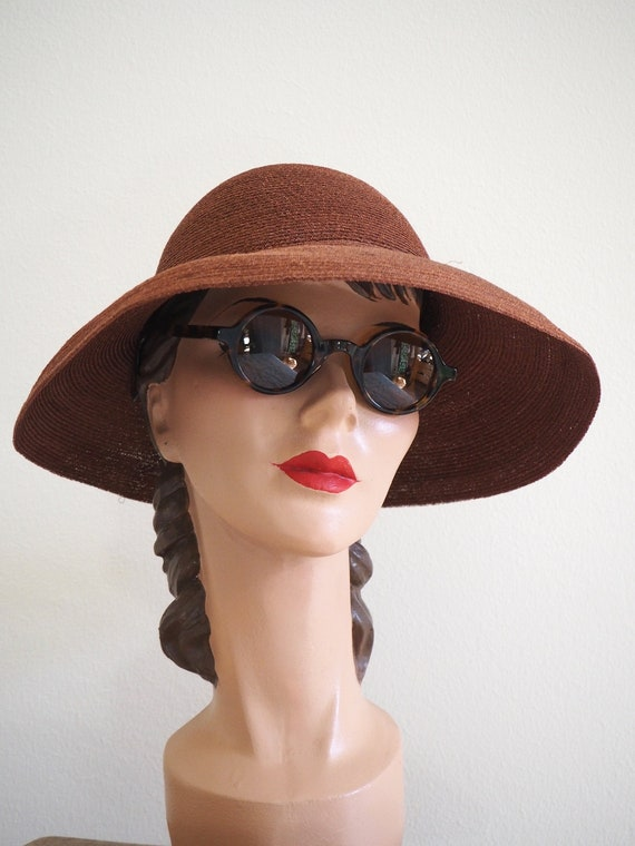 Deadstock 1940s Straw Summer Halo Hat | With Orig… - image 1
