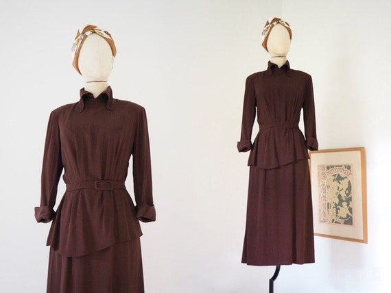 Brown Peplum 1940s Dress | Luxurious Sturdy Silky