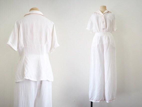 Garden Breakfast Elegant 1930s Pyjamas |High Wais