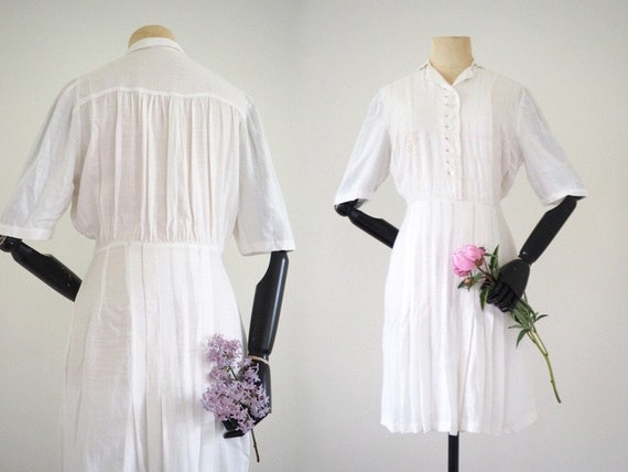Rare 1930s White Linen Day Dress | Beautiful Detai