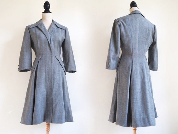 RARE 1940s Wool Dress | Striped Grey Fabric | Exce