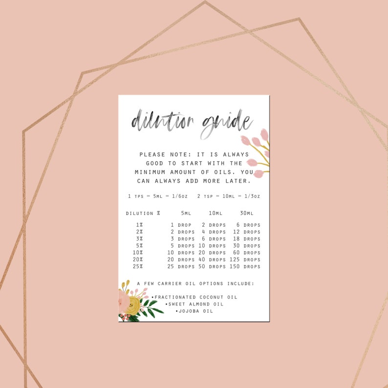 graphic regarding Essential Oils Chart Printable known as Necessary Oil Dilution Chart, Printable, Doterra Oil Small business, Vital Oil Electronic Downloads, Floral Art