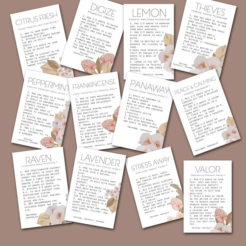 Starter Kit Flashcards, Young Living Oil Business, Essential Oil Digital  Download, Essential Oil Accessories, 4x6 printables