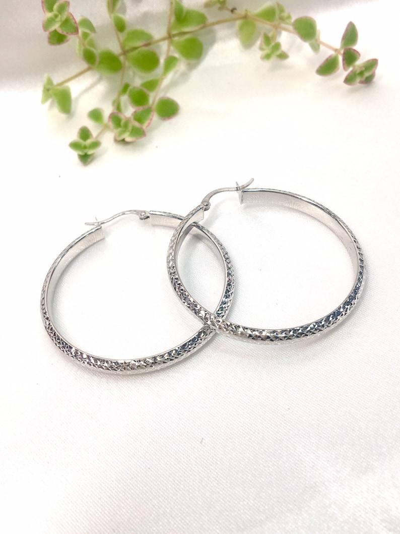 54cddeae4926 White Gold 14k Hoop Earrings Arracadas de Oro Blanco 14k