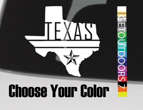 Texas autocollant sticker DIE CUT État Silhouette Dallas Cowboys plaque étoile nautique 2e amendement pêche basses Longhorns A & M Tech TCU