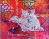 "Acrylic White Cat ""A..."