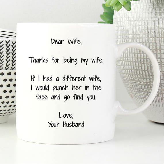 Dear Wife Thanks For Being My Wife Gifts Form Husband I Etsy