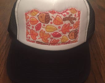 Trucker Hat w/ Embroidered Autumn Leaves Design