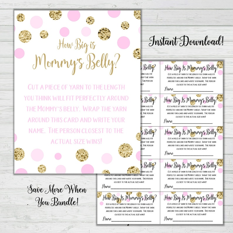 photo regarding How Big is Mommy's Belly Free Printable named How Massive Is Mommys Stomach Yarn Activity - Purple and Gold Boy or girl Shower Online games -Woman Little one Shower Fast Down load Electronic Printable Reward Sport Sparkle